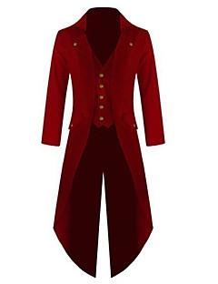 tanie Cosplay i kostiumy-Doktor zarazy Średniowieczne Steampunk Kostium Męskie Płaszcz Czerwono-czarny / Zielony / Niebieski Postarzane Cosplay Bawełna Długi rękaw Biskup