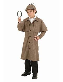 tanie Kostiumy filmowe i telewizyjne-Sherlock Holmes Płaszcz Kostiumy z filmów Brązowy Płaszcz Kapelusz Święta Halloween Dzień Dziecka Poliester