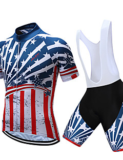 9d170f08f TELEYI Men s Short Sleeve Cycling Jersey with Bib Shorts - White Black  National Flag Bike Clothing Suit Quick Dry Sports Coolmax® National Flag  Mountain ...