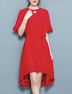 baratos Vestidos de Festa-Mulheres Boho / Moda de Rua Reto Vestido Sólido Médio