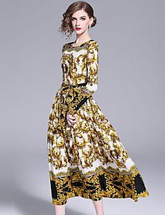 billiga Cocktailklänningar-A-linje Prydd med juveler Ankellång Snörningsspets Vintage-inspirerad Bal Klänning med Mönster / tryck av LAN TING Express