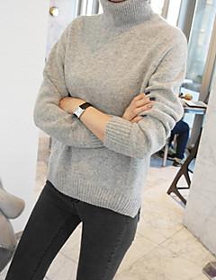 tanie Swetry damskie-Damskie Codzienny Podstawowy Solidne kolory Długi rękaw Szczupła Krótkie Pulower Bawełna Biały / Czarny / Szary L / XL / XXL