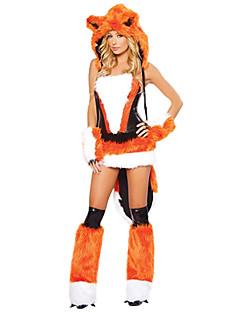 billige Voksenkostymer-Nisse drakter Fox Girl Ulv Kvinner Kostume Dame Voksne Halloween Jul Jul Halloween Karneval Festival / høytid Drakter Svart / Oransje Dyr