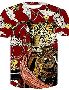 tanie Bestsellery-T-shirt Męskie Podstawowy / Moda miejska, Nadruk Kolorowy blok / Zwierzę