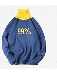 baratos Suéteres de Mulher-Mulheres Diário Básico Sólido Manga Longa Padrão Pulôver Azul / Cinzento L / XL / XXL
