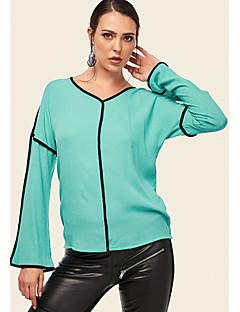 billige Bluse-Kvinders asiatiske størrelse bluse - farveblok v-hals