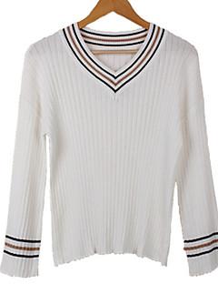 baratos Suéteres de Mulher-Mulheres Diário Básico Sólido Manga Longa Padrão Pulôver Marron / Branco / Preto Tamanho Único