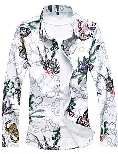 cheap Tops-Men's Chinoiserie Plus Size Cotton Shirt - Floral / Long Sleeve / Fall
