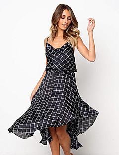 d7f9e929961 Γυναικεία Μπόχο Λεπτό Swing Φόρεμα - Καρό / Τετραγωνισμένο, Στάμπα Μίντι  Τιράντες