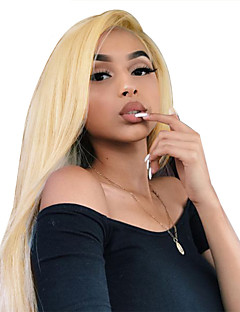 cheap New Arrivals-Virgin Human Hair Full Lace Wig Mina Style Brazilian Hair Straight Blonde Wig 130% Density 12-22 inch with Baby Hair Best Quality Hot Sale with Clip Blonde Women's Mid Length Human Hair Lace Wig