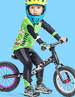 billige Sykkelklær-SANTIC Gutt Langermet Sykkeljersey med tights - Grønn Sykkel Pustende, Fort Tørring Tegneserie / Elastisk