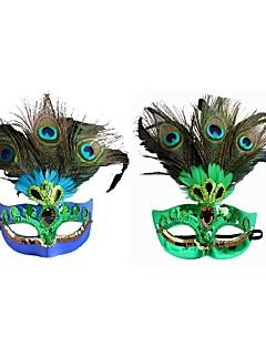 baratos Máscaras-Princesa Máscara Venetian / Máscara de pena / Meia Máscara Sensual Verde / Azul Plásticos / Pena Festa Acessórios para Cosplay Dia Das Bruxas / Carnaval / Baile de Máscaras Fantasias