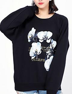 baratos Moletons com Capuz e Sem Capuz Femininos-camisola fina de manga comprida para senhora - geométrica / sólida em volta do pescoço preto s