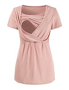 baratos Tops-t-shirt feminina - decote redondo em cor sólida