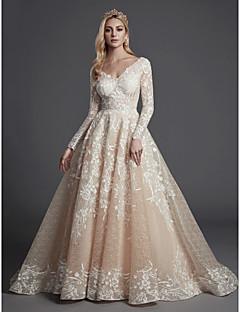 billiga Brudklänningar-Prinsessa V-hals Hovsläp Spets / Tyll Bröllopsklänningar tillverkade med Applikationsbroderi / Spets av LAN TING BRIDE®