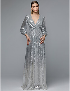 A-Line V Neck Floor Length Sequined Sparkle   Shine Prom Dress with Sequin  by TS Couture® d31d9d2d7bd1