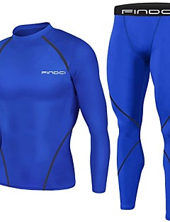 cheap Activewear-FINDCI Men's Compression Suit Royal Blue Burgundy Dark Navy Sports Fashion Base layer Compression Shirt and Pants Active Training Running Gym Workout Long Sleeve Activewear Lightweight Breathable