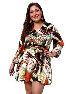 ce6adbc8602 Women s Plus Size Daily Going out Basic Boho Slim A Line Sheath Skater Dress  - Floral Geometric Color Block Lace up Print V Neck Spring Blue Orange XXL  XXXL ...
