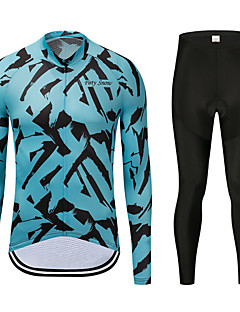 8fe21d5f8 FirtySnow Men s Long Sleeve Cycling Jersey with Tights - Blue Zebra Bike  Clothing Suit Thermal   Warm Windproof Fleece Lining Winter Sports  Polyester Zebra ...
