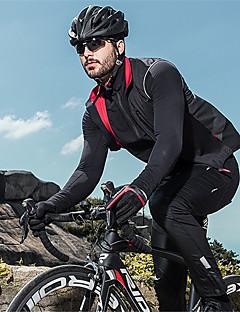 billige Sykkelklær-SANTIC Herre Sykkeljakke Sykkel Jakke Vindtett Hold Varm Pustende sport Ensfarget Elastan Vinter Svart Klær Sykkelklær / Høy Elastisitet