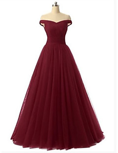 A-Line Off Shoulder Floor Length Satin   Tulle Vintage Inspired Formal  Evening Dress with Draping   Tier   Pleats by LAN TING Express 1afcb29f8
