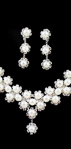 e6a35ad69 Dámské Průsvitné Šperky Set Napodobenina perel, Stříbrná Zahrnout Pro  Svatební Párty Narozeniny Zásnuby Dar / Küpeler / Náhrdelníky