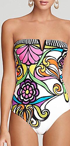 cheap -Women's Boho Strapless White Briefs One-piece Swimwear - Floral Print S M L White