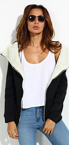 ieftine -Pentru femei Zilnic Șic Stradă Palton, Culoare solidă Manșon Lung Poliester Sport Negru / Gri / Căptușeală de Lână