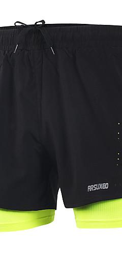 abordables -Arsuxeo Homme 2 en 1 Shorts de Course Running Des sports Couleur unie Spandex Cuissard  / Short Entraînement actif Fitness Entraînement de gym Grandes Tailles Tenues de Sport Poids Léger Séchage