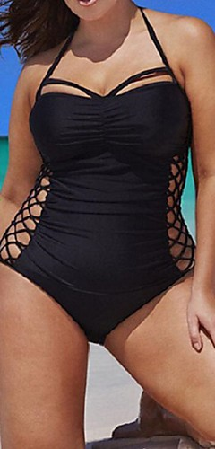 cheap -Women's Halter Neck Black One-piece Swimwear - Solid Colored Criss Cross XXL XXXL XXXXL Black
