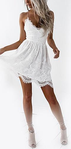זול -לבן צווארון V כתפיה מותניים גבוהים מיני תחרה, אחיד - שמלה גזרת A רזה בסיסי חגים מועדונים בגדי ריקוד נשים / גב חשוף / סקסית
