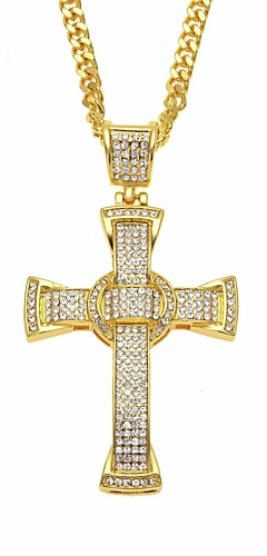 cheap -Men's Cubic Zirconia Classic Cuban Link Pendant Necklace Chain Necklace Rhinestone Cross Faith Classic European Hip-Hop Cool Gold Silver 70 cm Necklace Jewelry 1pc For Street Festival