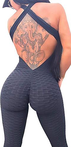 abordables -Femme Ruched Butt Lifting Combinaison Combinaison d'entraînement Des sports Couleur unie Spandex Taille Haute Leggings Le Maillot de corps Zumba Yoga Entraînement de gym Sans Manches Tenues de Sport