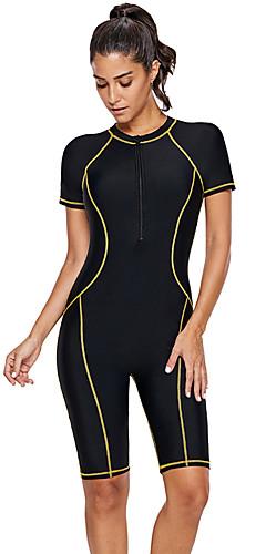 cheap -Women's Basic Black Swim Trunk One-piece Swimwear - Color Block XL XXL XXXL Black / Sexy
