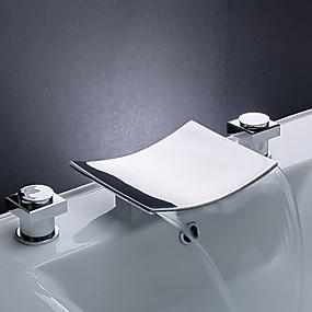 billige Ugentlige tilbud-Baderom Sink Tappekran - Foss Krom Udspredt Tre Huller / To Håndtak tre hullBath Taps / Messing