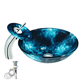 cheap Vessel Sinks-Contemporary Round Sink Material is Tempered Glass Bathroom Mounting Ring Kitchen Water Drain Vessel Sink