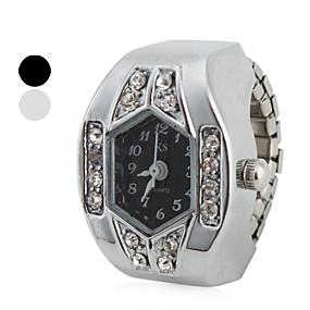 billige Dameklokker-Dame Ringur Japansk Quartz Sølv Imitasjon Diamant Analog damer Glitrende - Hvit Svart