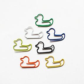 ราคาถูก สำนักงานจัดหาและตกแต่ง-เป็ดคลิปหนีบกระดาษรูปแบบที่มีสีสัน (สีสุ่ม 10 แพ็ค)