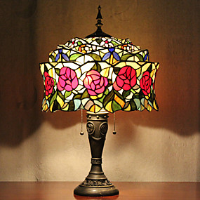 billige Bordlamper-Mongolsk Jurt Design bordlampe, 2 Light, Tiffany Resin Glass Painting