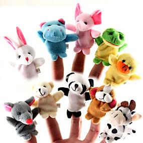 ราคาถูก ของเล่นสำหรับเด็ก-สำหรับเรื่องก่อนนอน Animal Finger Puppet Puppets น่ารัก Cartoon สิ่งทอ ซิลิโคน Plush เด็กผู้หญิง Toy ของขวัญ 10/12 pcs