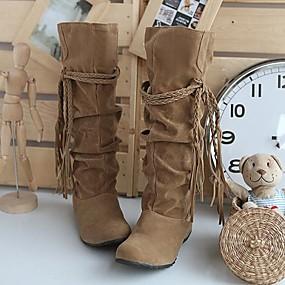 billige Mote Boots-Dame Kile Hæl Drapert / Snøring Semsket lær 35.56-40.64 cm / Knehøye støvler Slouch Støvler Høst / Vinter Svart / Rosa / Brun