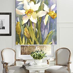 povoljno Sjenila-Artistic Oil Painting Style Blossoms Roller Shade