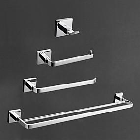 billige Tilbehørssett til badet-Tilbehørssett til badeværelset Moderne Messing 4stk - Hotell bad Toalettrullholder / Robe Hook / tårnet bar Vægmonteret
