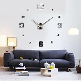 cheap DIY Wall Clocks-Frameless Large DIY Wall Clock, Modern 3D Wall Clock with Mirror Numbers Stickers for Office Living Room Bedroom Kitchen Bar Clock Plate