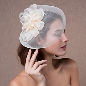 baratos Tiaras-Cristal / Tecido / Organza Tiaras / Fascinadores / Flores com 1 Casamento / Festa / Noite Capacete / Chapéus