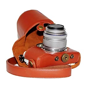 cheap Bags & Cases-Dengpin® PU Leather Litchi Pattern Camera Case for Olympus PEN E-PL7 with 17mm/14-42mm Lens