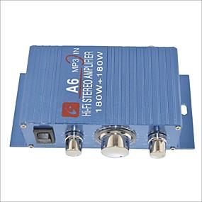 tanie Sprzęt audio samochodowy-a6 180W wzmacniacz hi-fi stereo do samochodu / motocykla-niebieski