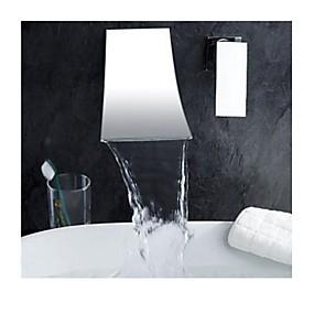 billige Krom Series-Badekarskran - Moderne Krom Romersk kar Messing Ventil Bath Shower Mixer Taps / Enkelt håndtak To Huller