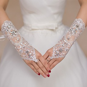 cheap New Arrivals-Lace Elbow Length Glove Bridal Gloves / Party / Evening Gloves / Flower Girl Gloves With Rhinestone / Sequin