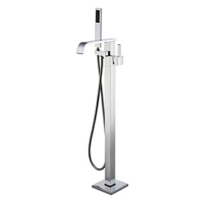 저렴한 특별 할인 및 프로모션-욕조 수전 - 콘템포라리 크롬 바닥 내장 도자기 발브 Bath Shower Mixer Taps / 싱글 핸들 하나의 구멍